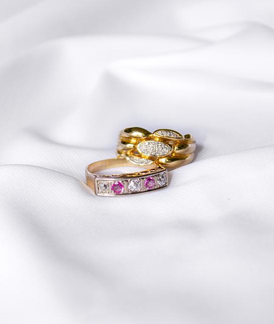 gouden ring roze vintage jewellery